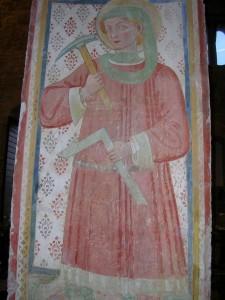 affresco votivo raffigurante il protettore degli scalpellini. San Claudio, Spello.