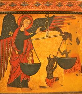 dipinto in cui l'arcangelo si contende con il demonio le anime dei defunti