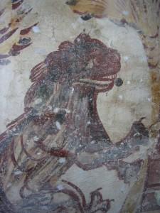 dettaglio del leone affrescaqto sulla parete di controfacciata. Foto di A.Bazzoli