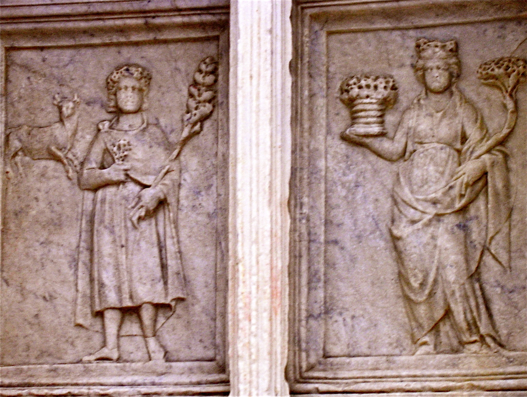 Il mese di aprile sulla Fontana Maggiore di Perugia, opera di Giovanni e Nicola Pisano, 1278