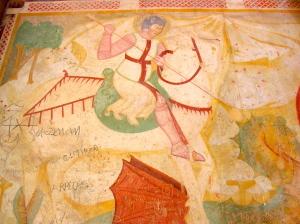 San Giorgio sconfigge il drago. Affresco del XIII secolo.