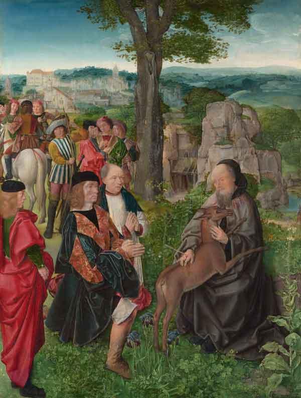 il re ferisce con una freccia San Gillio che cercava di proteggere la cerva sua amica
