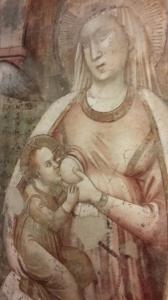 Particolare della Madonna del Latte proveniente dall'abbazia di Sant'Emiliano in Congiuntoli. Pinacoteca Molajoli di Fabriano.